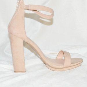 Nude Platform Block Heel Sandal